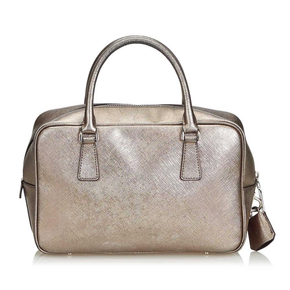 Prada Vintage Saffiano Leather Bauletto Handbag Bag Oro