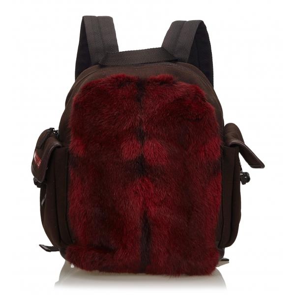 Prada Vintage - Fur Backpack - Rosso - Zaino in Pelle - Alta Qualità Luxury