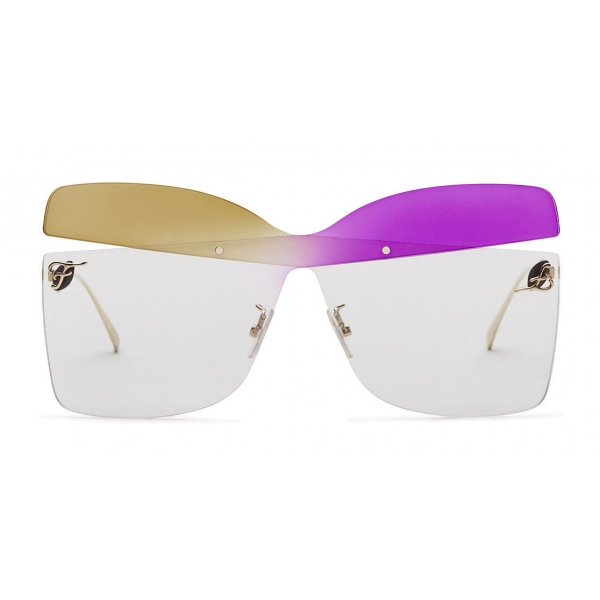 Fendi - Karligraphy - Occhiali da Sole a Farfalla - Oro Tabacco Viola - Occhiali da Sole - Fendi Eyewear