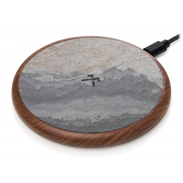 Woodcessories - Wireless Charging Station Dock Qi (10W) - Ecopad Stone - Real Stone Premium Eco Pad - iPhone - Samsung