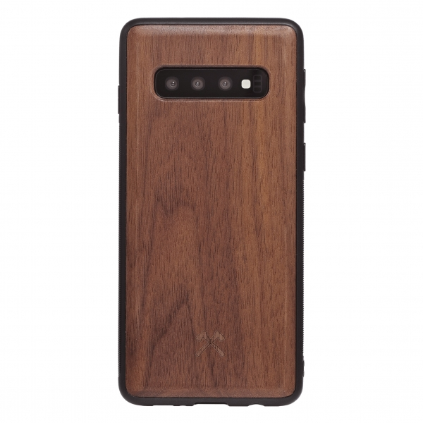 Woodcessories - Eco Bumper - Walnut Cover - Black - Samsung S10 - Wooden Cover - Eco Case - Bumper Collection