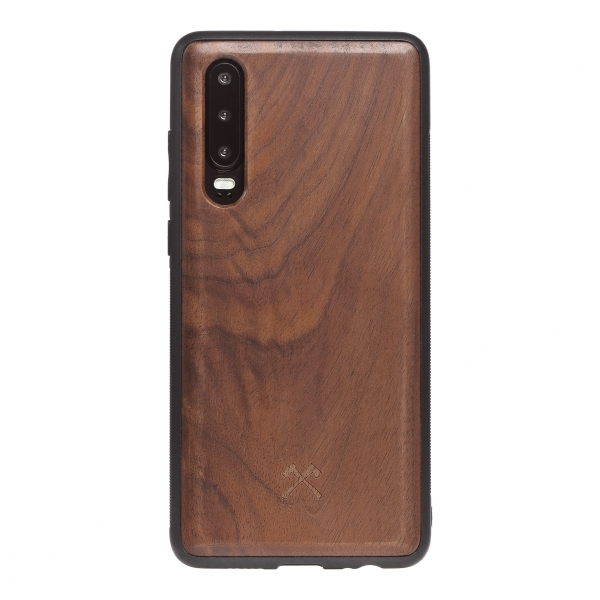 Woodcessories - Eco Bumper - Walnut Cover - Black - Huawei P30 - Wooden Cover - Eco Case - Bumper Collection