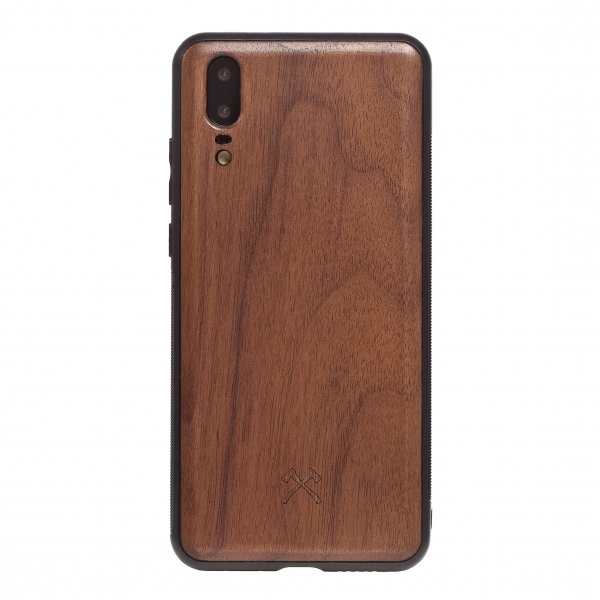 Woodcessories - Eco Bumper - Walnut Cover - Black - Huawei P20 - Wooden Cover - Eco Case - Bumper Collection