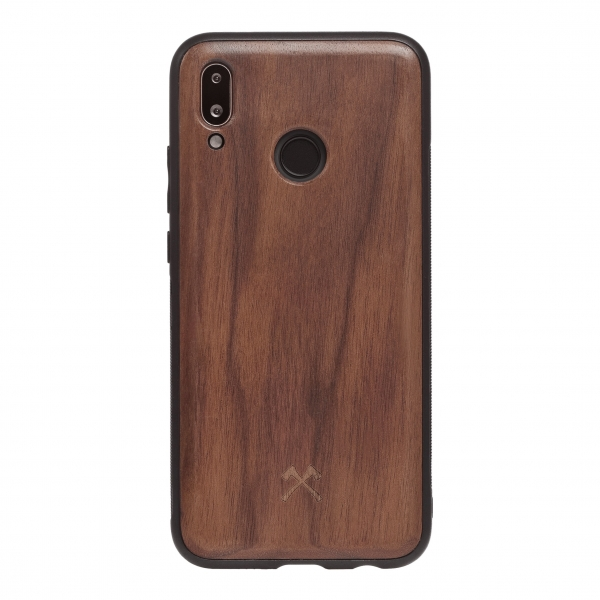Woodcessories - Eco Bumper - Walnut Cover - Black - Huawei P20 Lite - Wooden Cover - Eco Case - Bumper Collection