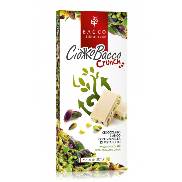 Bacco - Tipicità al Pistacchio - CiokkoBacco Crunch - Pistachio White Chocolate Bar - Artisan Chocolate - 100 g