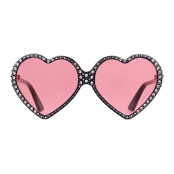 Gucci - Occhiali da Sole a Cuore Elton John - Nero Rosa - Gucci Eyewear