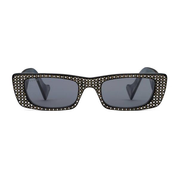 Gucci - Occhiali da Sole Rettangolari con Cristalli - Nero - Gucci Eyewear