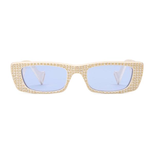 Gucci - Occhiali da Sole Rettangolari con Cristalli - Avorio - Gucci Eyewear