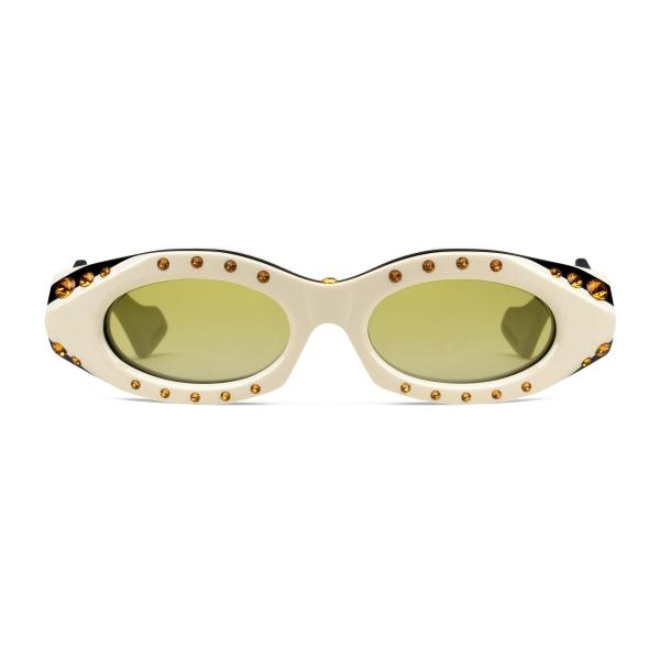 Gucci - Occhiali da Sole Ovali con Cristalli Swarovski - Nero - Gucci Eyewear