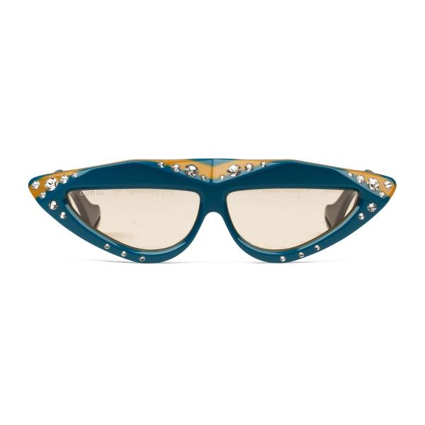 Gucci - Occhiali da Sole Ovali con Cristalli Swarovski - Azzurro e Nero - Gucci Eyewear