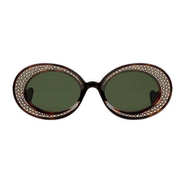 Gucci - Occhiali da Sole Ovali con Cristalli Swarovski - Tartaruga - Gucci Eyewear
