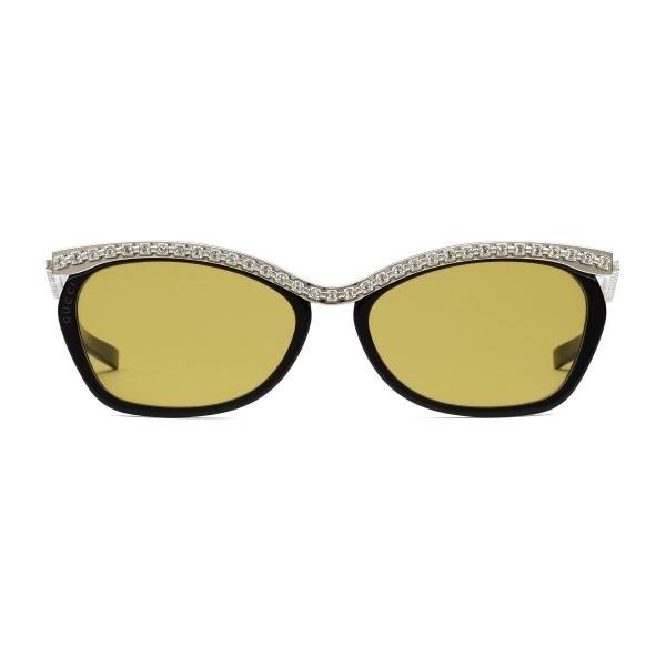 Gucci - Occhiali da Sole Rettangolari con Cristalli Swarovski - Nero - Gucci Eyewear