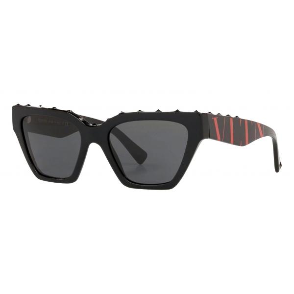 Valentino - Square Frame Acetate Sunglasses - Stud - Black - Valentino Eyewear