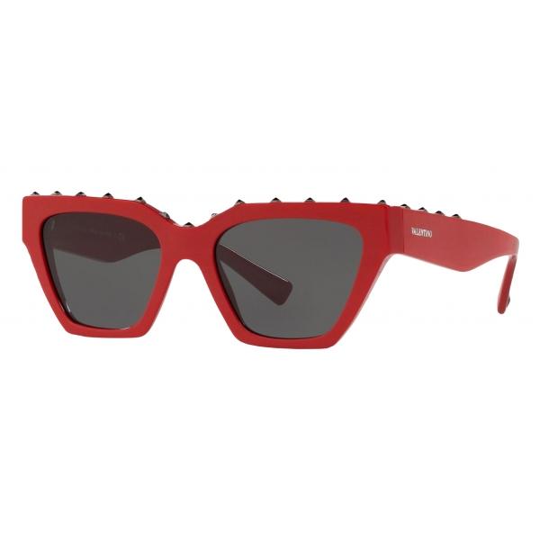 Valentino - Occhiale da Sole Squadrato in Acetato - Stud - Rosso - Valentino Eyewear