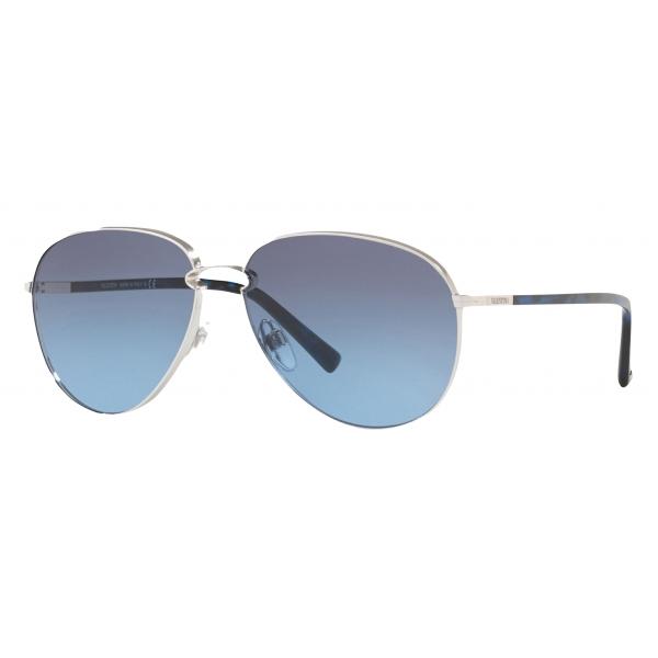 Valentino - Occhiale da Sole Pilot in Metallo - Blu - Valentino Eyewear