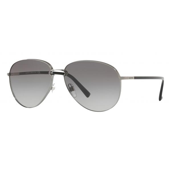 Valentino - Occhiale da Sole Pilot in Metallo - Grigio - Valentino Eyewear
