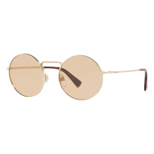 Valentino - Occhiale da Sole Tondo in Metallo - Oro - Valentino Eyewear