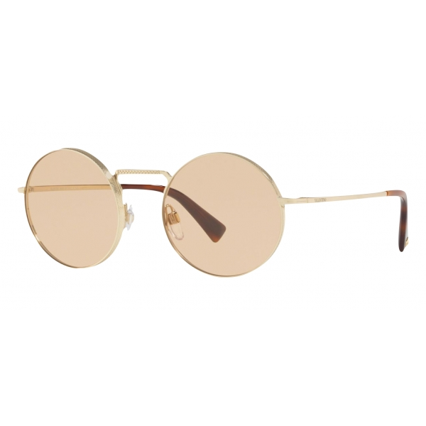 Valentino - Round Frame Metal Sunglasses - Gold - Valentino Eyewear