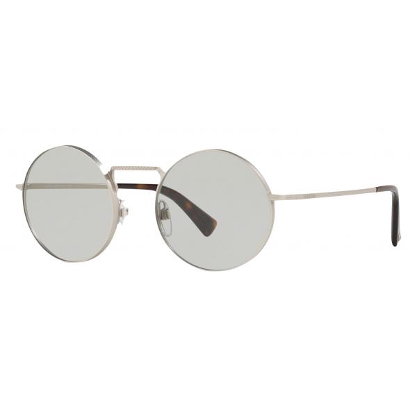 Valentino - Occhiale da Sole Tondo in Metallo - Argento - Valentino Eyewear