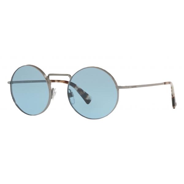 Valentino - Occhiale da Sole Tondo in Metallo - Blu - Valentino Eyewear