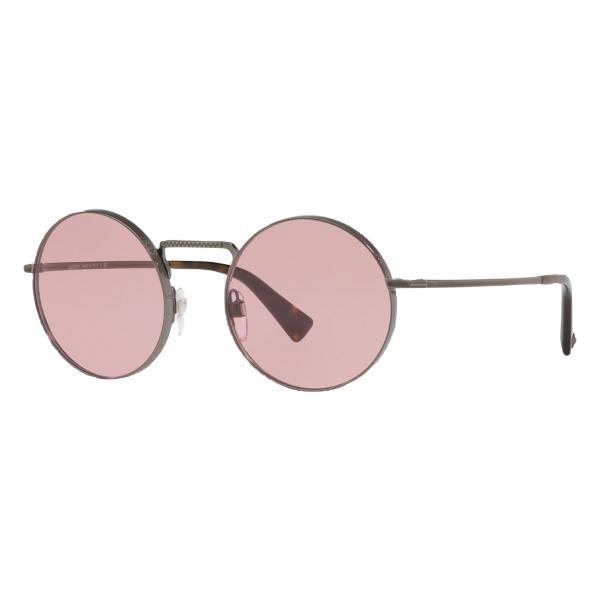 Valentino - Round Frame Metal Sunglasses - Lead - Valentino Eyewear