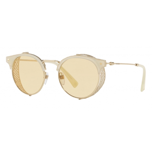 Valentino - Half-Rim Round Metal and Acetate Sunglasses with Mirrored Lens - Gold - Valentino Eyewear