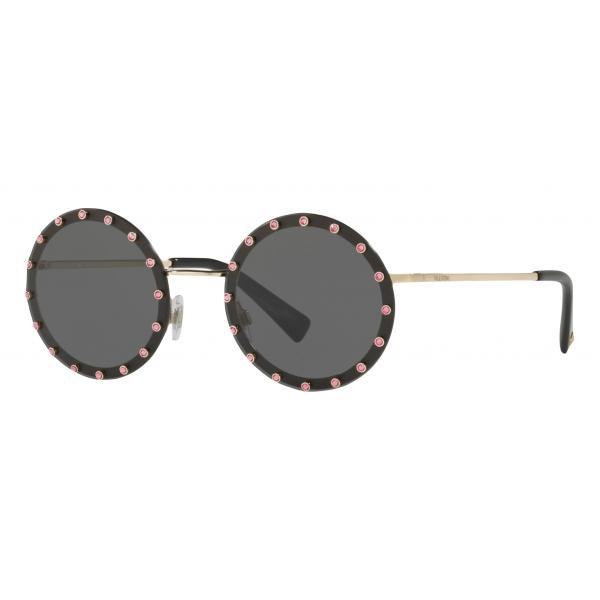 Valentino - Crystal Studded Round Frame Metal Sunglasses - Black - Valentino Eyewear