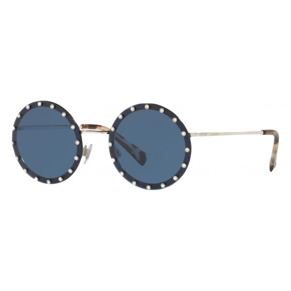 Valentino - Occhiale da Sole Tondo in Metallo con Cristalli - Blu Scuro - Valentino Eyewear