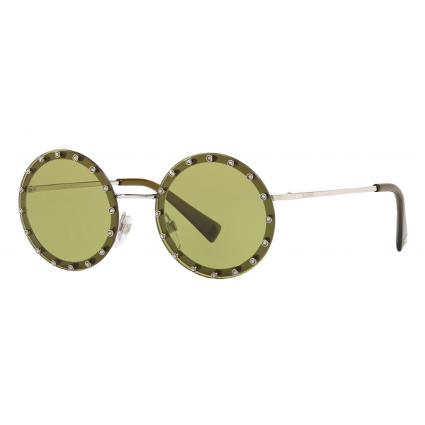 Valentino - Crystal Studded Round Frame Metal Sunglasses - Light Green - Valentino Eyewear