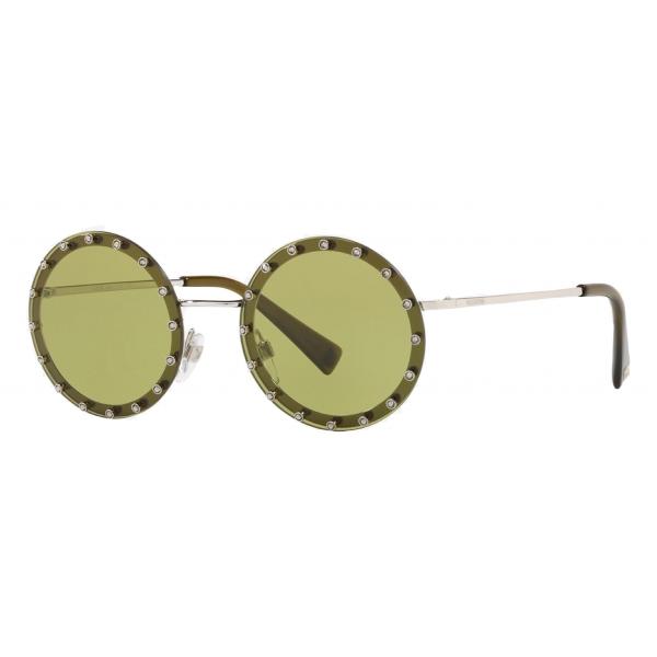 Valentino - Occhiale da Sole Tondo in Metallo con Cristalli - Verde Chiaro - Valentino Eyewear