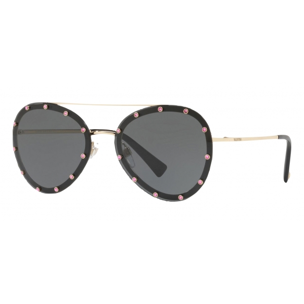 Valentino - Crystal Studded Aviator Frame Metal Sunglasses - Black - Valentino Eyewear