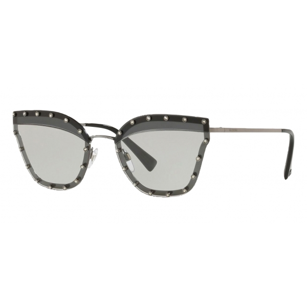 Valentino - Crystal Studded Cat-Eye Metal Sunglasses - Black - Valentino Eyewear