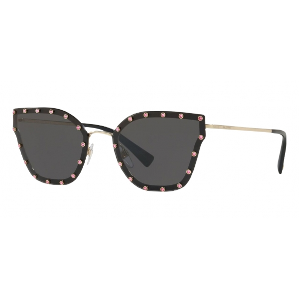Valentino - Crystal Studded Cat-Eye Metal Sunglasses - Full Black - Valentino Eyewear