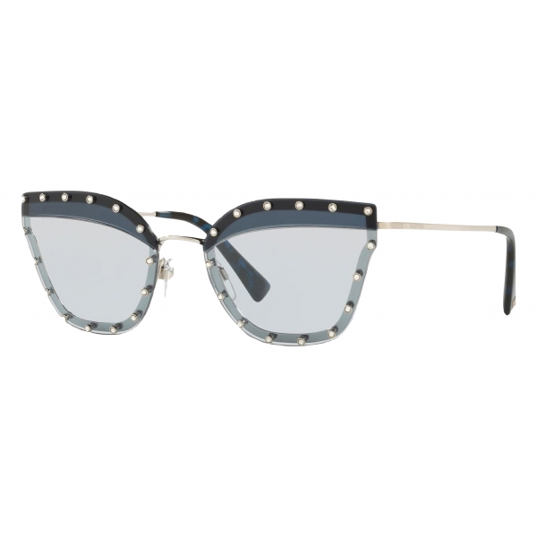 Valentino - Crystal Studded Cat-Eye Metal Sunglasses - Dark Blue - Valentino Eyewear