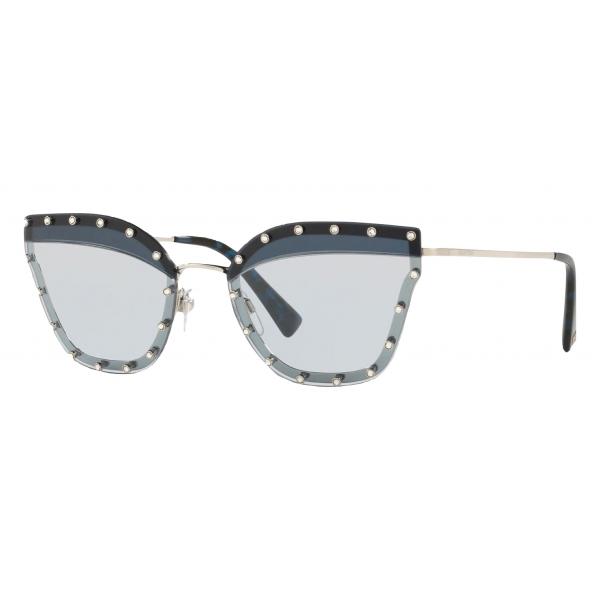 Valentino - Occhiale da Sole Pilot in Metallo con Cristalli - Blu Scuro - Valentino Eyewear