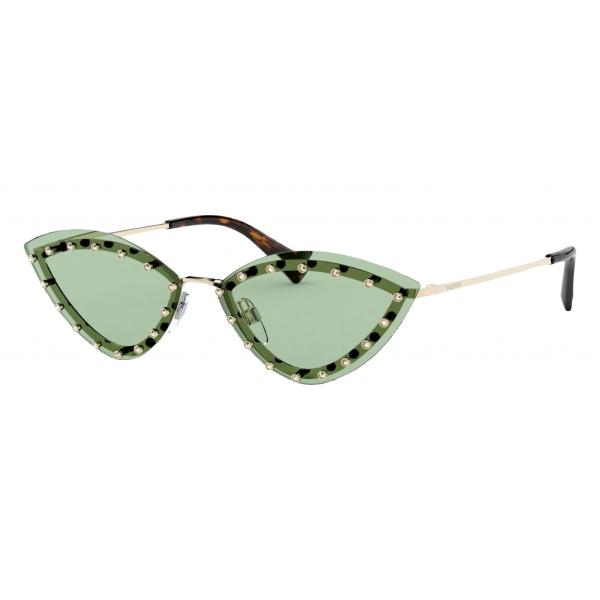 Valentino - Occhiale Triangolare in Metallo con Borchie in Cristallo - Verde - Valentino Eyewear