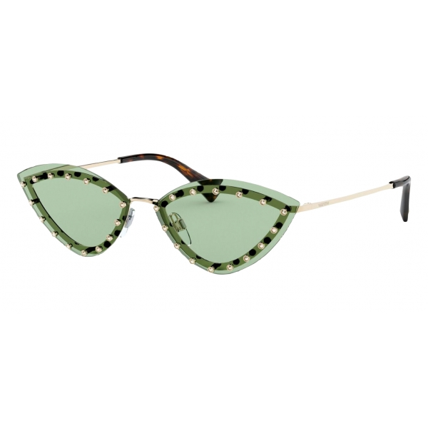 Valentino - Triangular Metal Glasses with Crystal Studs - Green - Valentino Eyewear