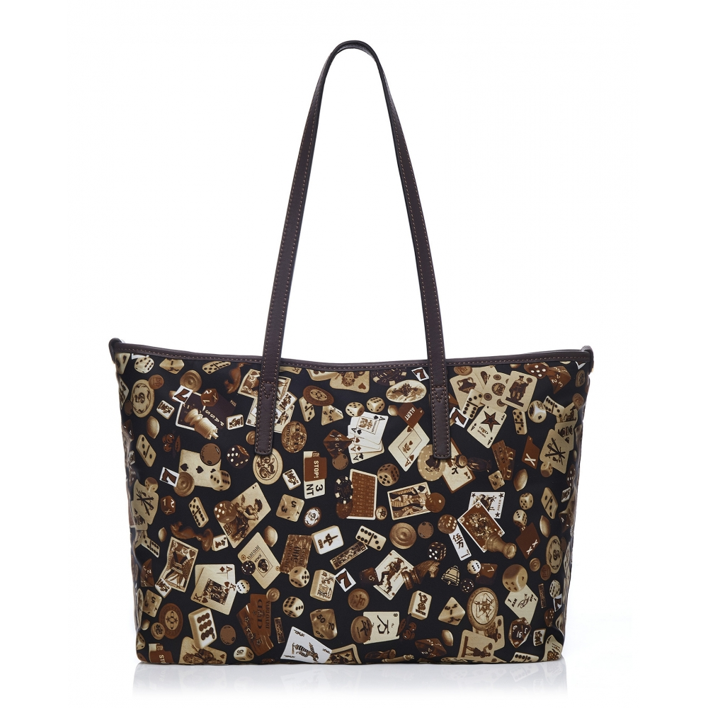 Details about  /Madrid Life is a Game All Dark Brown Shoulder Bag Made in Italy by Divo Diva New