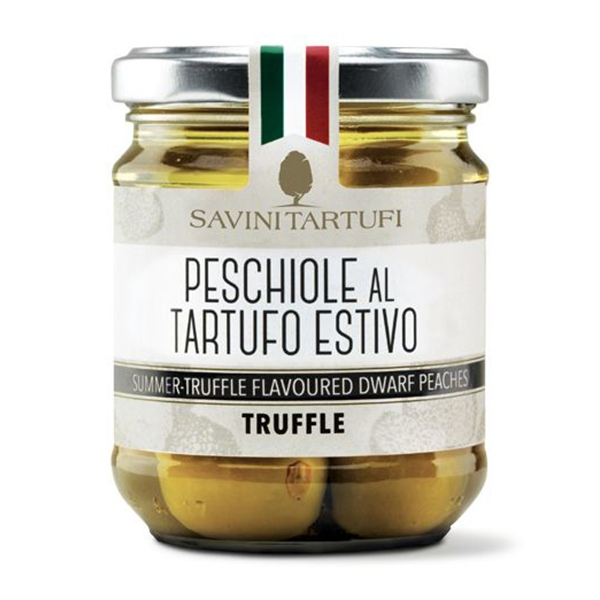 Savini Tartufi - Peschiole al Tartufo Estivo - Linea Tricolore - Eccellenze al Tartufo - 180 g