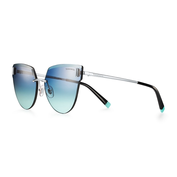 Tiffany & Co. - Occhiale da Sole Cat Eye - Argento Nero Blu - Collezione Tiffany T - Tiffany & Co. Eyewear
