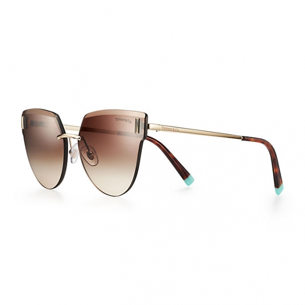 Tiffany & Co. - Occhiale da Sole Cat Eye - Oro Marrone - Collezione Tiffany T - Tiffany & Co. Eyewear