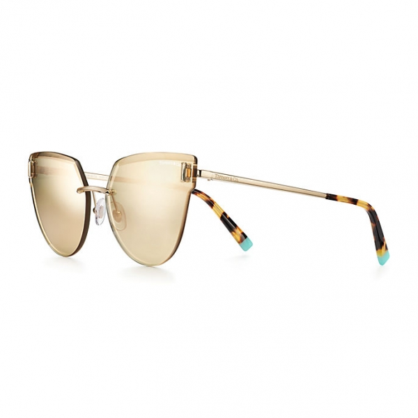 Tiffany & Co. - Occhiale da Sole Cat Eye - Oro Pallido Marrone - Collezione Tiffany T - Tiffany & Co. Eyewear