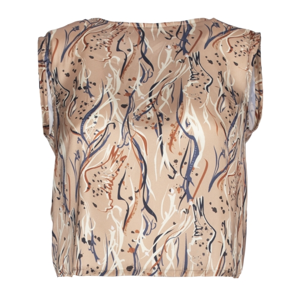 Leda Di Marti - Beige Satin Top - Leda Collection - Haute Couture Made in Italy - Luxury High Quality Top