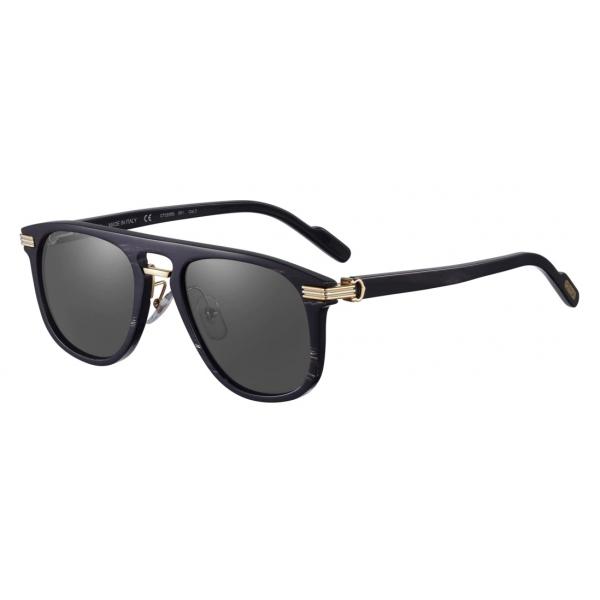 Cartier - Rettangolari - Corno Nero Metallo Oro Lenti Grigie - Santos de Cartier - Occhiali da Sole - Cartier Eyewear