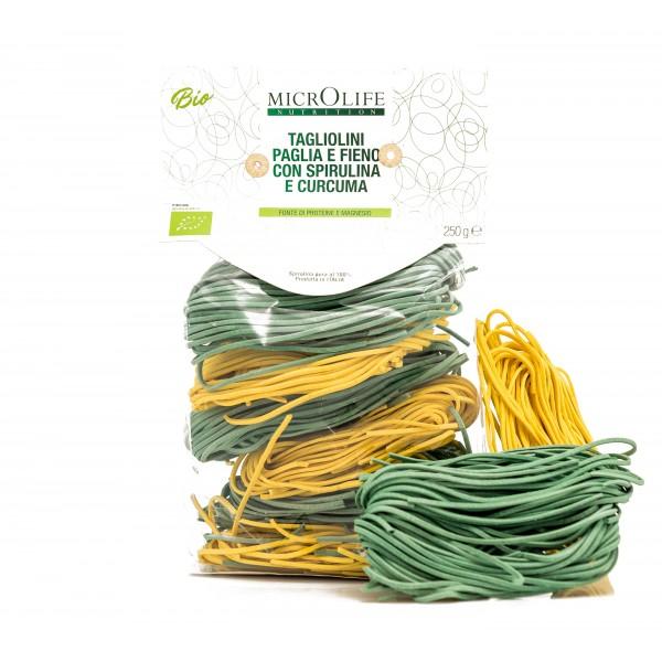 Microlife - Pasta Bio - Tagliolini 'Paglia e Fieno' con Spirulina e Curcuma
