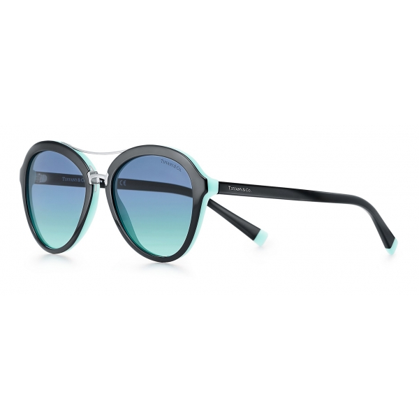 Tiffany & Co. - Occhiale da Sole Pilot - Nero Blu Argento - Collezione Tiffany T - Tiffany & Co. Eyewear