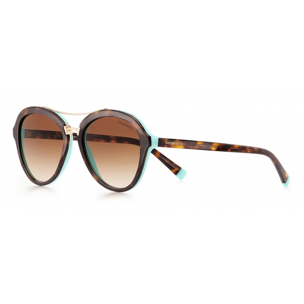 Tiffany & Co. - Occhiale da Sole Pilot - Tartaruga Blu Oro Marroni - Collezione Tiffany T - Tiffany & Co. Eyewear