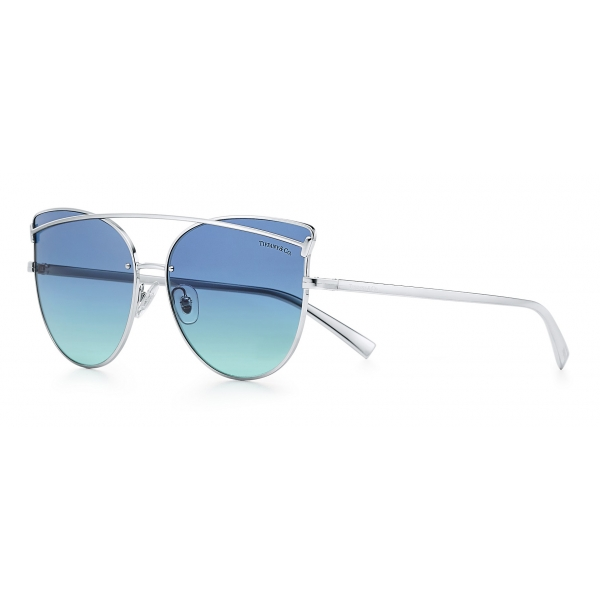 Tiffany & Co. - Occhiale da Sole Cat Eye - Argento Blu - Collezione Tiffany T - Tiffany & Co. Eyewear