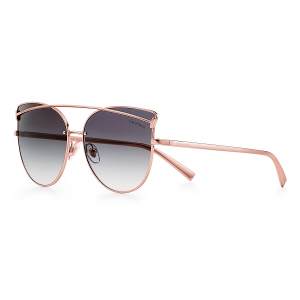 Tiffany & Co. - Occhiale da Sole Cat Eye - Dorato Rosa Grigio - Collezione Tiffany T - Tiffany & Co. Eyewear