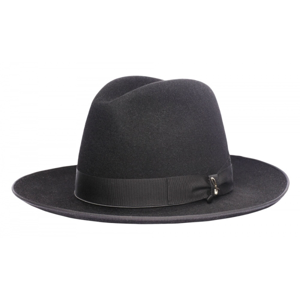 Doria 1905 - Wolf - Cappello Fedora ad Ala Larga Nero Saraceno - Accessori - Cappello Artigianale Italiano